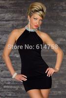 free shipping Sexy Women Deep Sleeveless Slim Cocktail Club Party stretchy Black Mini Dress