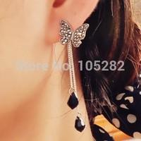 New 2014 Long Women Earrings Accessory Silver Sparkling pearl Tassel Crystal Design Bow Stud Earring Jewelry Gift For Female
