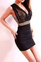 New 2014 Summer Black Gauze Paillette Bsic Slim Hip Sexy Dress Bodycon Mini Women Dresses S-L