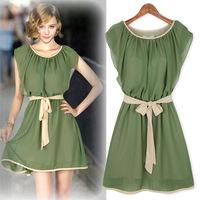 S-XL Free Shipping New Arrival Fashion Dress Women O-neck Dress Chiffon Lady Party Dress Butterfly Sleeve High Quality