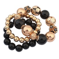 vintage stretch gold bracelet for women 2014 new fashion bead  bracelets bangles wholesale jewelry