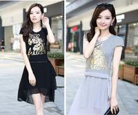 2014 New Fashion Cute Style Tiger Pattern Dress Lace Ruffles Women Dress 3 Colors A-line Dress M-XXL Free Shipping