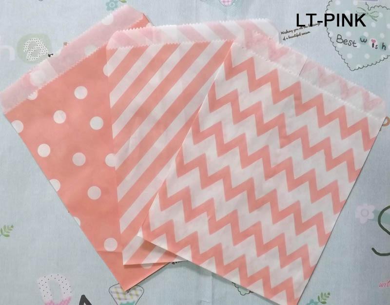 New light pink dots stripes chevron paper bag food packaging craft paper bag 1000pcs(China (Mainland))