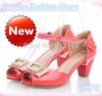 HOT!!  new fashion summer women sweet crystal peep toe buckle strap chunky sandals plug size 41 42 43 free shipping