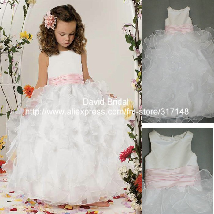 Real Sample E112 Beautiful Ruffled Organza Ball Gown Pink and White Flower Girl Dress for Weddings(China (Mainland))