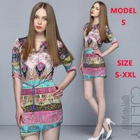 Free Shipping New Fashion Bohemian Dress Women V-neck Dress Boutique Temperament Lady Party Dress Polyester High Quality S-XXL