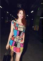 Free Shipping  Very Beautiful  2014 New Women Casual Sleeveless Summer Dress Multicolored Plaid O-Neck Sleeveless Dress