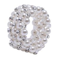 Four Rows Fauxl Pearls Crystal Rhinestone Bracelet for Party Evening Bridal Accessory