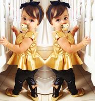 Free shipping -7sets/lot -2pcs baby clothing suits-Girls golden horn shirt + black leggings - girls leisure suit