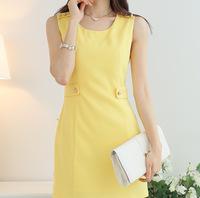 new fashion 2014 summer women clothing casual dress work wear yellow sleeveless dress elegant o-neck slim dresses for women S-XL