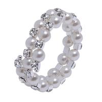Fashion Two Rows Fauxl Pearls Crystal Rhinestone Party Evening Bridal Bracelet Wedding Accessory