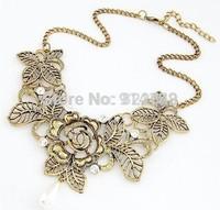 (Min.Order $ 10) ZS Fashion jewelry luxury Vintage Retro Rhinestone Bronze Hollow Rose Flower Necklace
