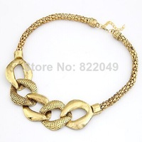 (Min.Order $ 10) ZS Fashion jewelry luxury Vintage Retro Shiny Gold  Thick Chain Geometric Necklace
