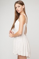 Hot Women Fashion Casual Mini A-Line Dress 2 Colors Cute Girl Modern Backless Cotton Dress Ladies Summer Spaghetti Strap Dresses