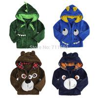 Free Shipping-2014 new  Retail New cute cartoon kids coral fleece hoodies  winter coat children cartoon Cardigans
