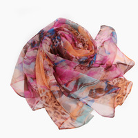 Silk Scarves mulberry silk long design print silk air conditioner cape female scarf