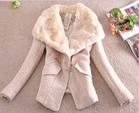 Autumn Winter Women Coat Woolen Down Jacket Casacos Femininos Desigual Rabbit Fur Coat Plus Size Spring Outerwear Overcoat E 10