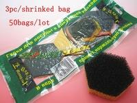 Free Shipping,Washing brush pot good helper , hexagon sponge for pot bowl , sponge with filter ,3pc/shrink bag ,50 bags/lot