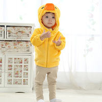 Infants fitted jacket style 2014 new big yellow duck flannel shirt Spring models
