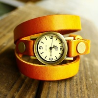 Quartz high quality lady wristwatches women watch 3 ring genuine cow leather vintage wholesale free shipping
