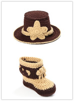 2014 New Handmade Cowboy Suit Newborn Crochet Outfits Baby Props Photography Package Crochet Baby Outfits Free Shipping