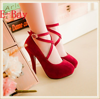 2014 Women Pumps Sexy  thin high heel black blue red ,buckle Mary Janes closed toe  retro spoon heels  big size 34-43