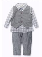 Baby's boys clothing sets cotton plaid t shirt  infant's outfit kids outerwear hot sale children baby clothing sets 3 pcs retail