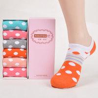 Free shipping 12pieces=6pairs=1 set 2014 autumn women sock short dots bow-knot cotton  women's boat socks