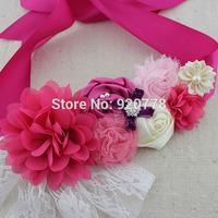 1 pcs Fuchsia ivory pink flower sash,chic shabby flower sash belt with lace pearl Rhinestones, Maternity sash, flower girl belt