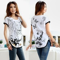 Plus size clothing mm2014 summer female t-shirt loose plus size plus size white short sleeve shirt