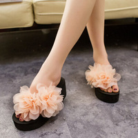 Fashionable new female high-heeled sandals slippers dimensional flowers slope with thick crust muffin flip flops KZ273
