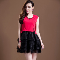 2014 summer new women's clothing dress  high quality small elegant ruffle slim fashion o-neck  one-piece dress