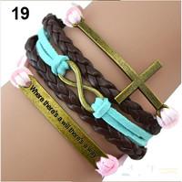 Min. order is $9(mix order) Wome Men Mix Multilayer 8 Cross handmade brown bracelet Hot selling Bracelet Set Leather