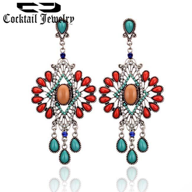 2014 New Bohemian estilo vintage jóias da moda geométricas Pétalas Resina Pavão brincos para as mulheres 27491 Frete grátis(China (Mainland))