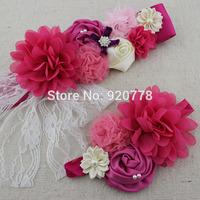 2pcs/set sash and matching headband Fuchsia Ivory and pink Maternity or flower girl, Newborn sash, Pregnancy photo prop