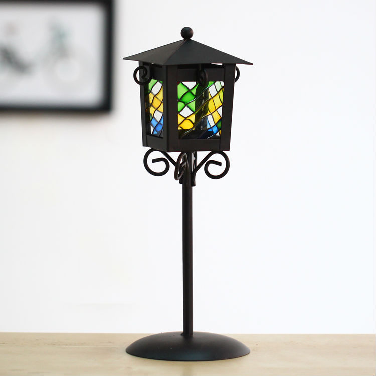 Free shipping iron street lamp sharp candle holder black metal candle lantern colored glass table candle stand(China (Mainland))