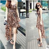 2014 fashion sexy leopard print spaghetti strap chiffon one-piece dress irregular dovetail skirt free shipping