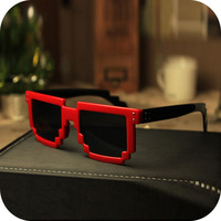 Free Shipping New Code Programmer Pixelated 8-Bit Black Sunglasses CPU Gamer Geek Designer Sunglasses Women Shades/Sunglass-7