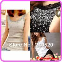 Hot Fashion Women Elegant Vest Lace Collar Bling Tank Sleeveless Tops White/Black/Gray Free Shipping