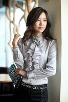 2014 Blouses Long Sleeve Chiffon Shirts Fashion Autumn Ruffle Casual Shirt  Elegant Women's Tops Plush Size S-XXL