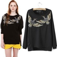 Irregular Bird Embroidery Pullovers Sweatshirts Women's Clothing Cotton Shirts Long Sleeve Loose Style Hoodies Ladies Shirts