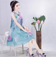Summer new women  print chiffon dress plus size dress national wind dress