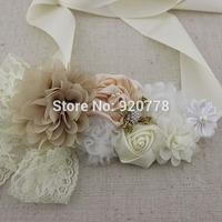 1pcs Floral Beige and ivory wedding sash, vintage style ivory flower belt, maternity flower sash, flower girl sash