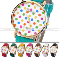 38mm 1 pc Lady Girl Women Leather Colorful Polka Dots Watches Dress Quartz Wristwatch Freeshipping