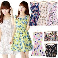 Women Summer Dress Casual Slim Floral Print Chiffon Short Beach Mini Dress Tops 074A