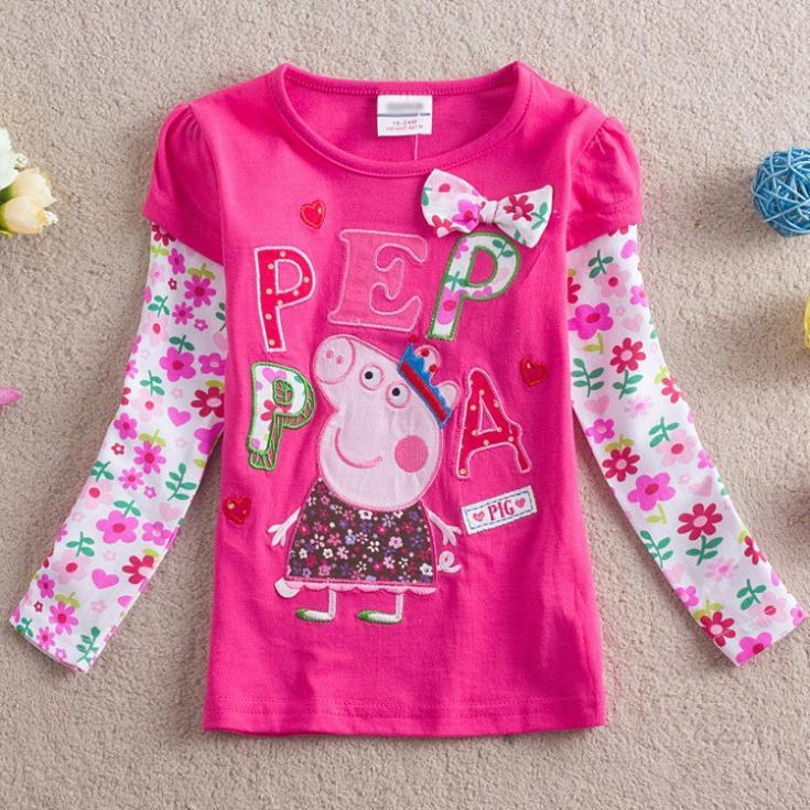 De vente au détail, nouveau 2014 jeunesse, asual robe. peppa pig vêtements filles hoodies& sweat pull bébé enfants filles t shirts à manches longues