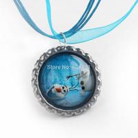 Frozen necklace party favors bottle cap necklace Olaf silk ribbon cord necklace Pendant necklaces set of 20