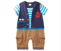 Fashion Fase Waistcoat Stripe Short Sleeve Toddler Baby Romper Infant First Walker Clothes Boy Gentleman Casual Romper GX567