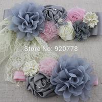 8set/lot Fashion sliver grey sash and matching headband, chiffon shabby flower sash belt, girl flower sash, Maternity belt
