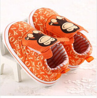 Wholesale 3 Pairs /lot  Cute Monkey Orange  Baby  First Walkers  Girl Shoes 0-1 Years old Chaussure Enfant